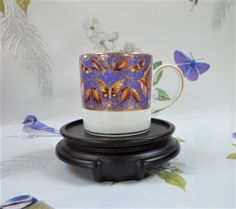 Coalport Museum Historic Coffee Cup Ltd Ed Butterfly and Pomegranates Vintage
