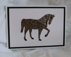 Iris Folded Horse Card.