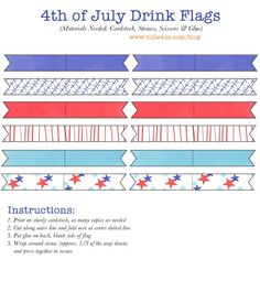 Free Printable- 4th of July Drink Flags   4th of July   Pinterest