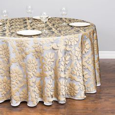Outstanding 118 In Round Baroque Sheer Tablecloth Gold For Weddings And Events Intended For Gold Round Tablecloth Popular