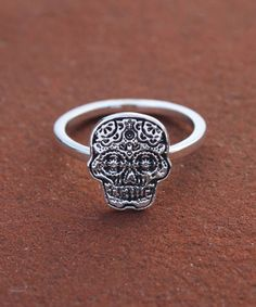 Hey, I found this really awesome Etsy listing at https://www.etsy.com/listing/120789178/sugar-skull-ring-calaveras-line
