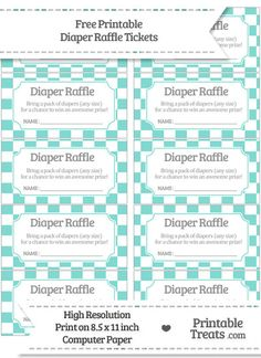 Free Tiffany Blue Checker Pattern Diaper Raffle Tickets. Nautical Baby  ShowersBaby ...