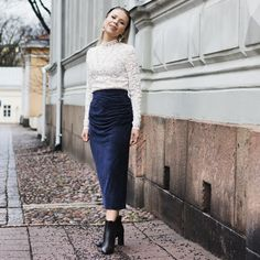 Anna Valkia wearing a white lace top by Rosemunde and midnight blue velvet skirt by By Malene Birger. Velvet Skirt, Malene Birger, Blue Velvet, Midnight Blue, White Lace, Fashion Beauty, Anna, Glamour, Skirts