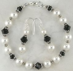 Black and White Jewelry Set  Black Crystal by TaliCreationsJewelry