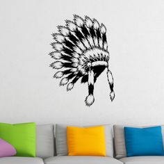 Quality Native American Indian Headdress Wall Sticker
