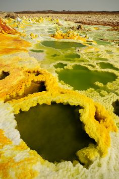 The Dallol sulpheric volcanic landscape in Ethiopia, Africa