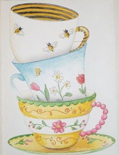 "Carol Wilson Stationery Stacked Teacups Birthday Card with Envelope Inside of card reads: ""Wishing you a birthday filled with warmth, love and sunshine."""