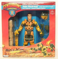 """I wanted the water one, but we couldn't find him. Jake Rockwell, the land operations expert from the """"Centurions"""" line of accessorized action figures in the Retro Toys, Vintage Toys, Childhood Toys, Childhood Memories, Gi Joe, Nostalgia, Kenner Toys, Old School Toys, Cartoon Toys"""