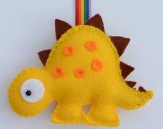 Dinosaur Keyring - Dinosaur Decoration - Felt Dinosaur - MAKE TO ORDER - Choose you own Colours
