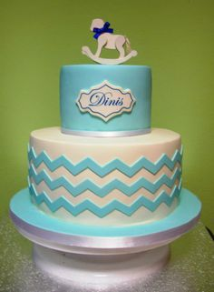 Rocking horse cake, horse cake, baby cake, chevron cake, geometric cake design, geometric decorations