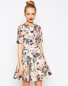 ASOS Skater Dress in Texture with Dipped Hem in Floral Print