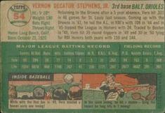 1954 Topps #54 Vern Stephens Back