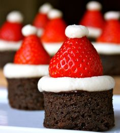 Use premade Brownie bites or make your own, top with frosting, a strawberry, and a tip of cream... it looks so good and very seasonal.