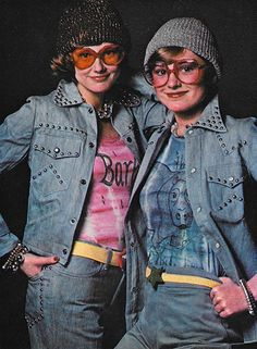 July 1973. 'Studs are dynamite on two denim jackets – one short, one shirty – and jeans