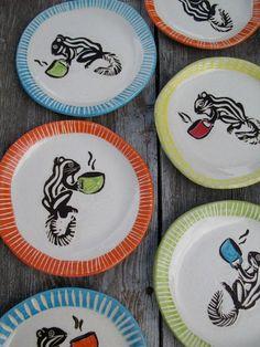 Handmade squirrel plates featuring a cappucino drinking squirrel (pumphousestudios at etsy--julia janeway)
