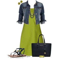Like the combination of the chartreuse dress with navy accessories. Komplette Outfits, Spring Outfits, Casual Outfits, Fashion Outfits, Womens Fashion, Fashion Trends, Chartreuse Dress, Casual Wear, Casual Dresses