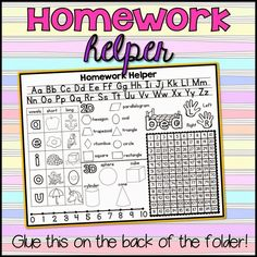 How to make Homework Folders with printable folder covers. Name and title for the front and printable homework helper for the back! This is so helpful for both kids and parents helping them. | homework tips for kids | printable number line | homework reference sheet | homework cheat sheets | desk helpers student