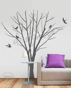 Winter Tree with Birds (LARGE set) - Removable Graphic Tree Wall Decal Wall Sticker Art- dd1004. $60.00, via Etsy.
