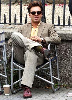 """sebastiansource: """"Sebastian Stan on set in Bray, Ireland on August """" Bucky Captain America, Sebastian Stan, Celebrity Film, Man Thing Marvel, Alexander Skarsgard, Bucky Barnes, Winter Soldier, Chris Evans, On Set"""