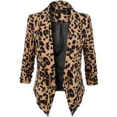 LE3NO Womens Leopard Print 3/4 Sleeve Draped Open Front Blazer ($21) ❤ liked on Polyvore featuring outerwear, jackets, blazers, blazer, coats, 3/4 sleeve jacket, draped jacket, three quarter sleeve jacket, leopard jacket and open front jacket