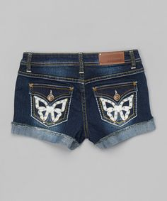 Loving this Vigoss Blue & White Faux Leather-Butterfly Denim Shorts on #zulily! #zulilyfinds