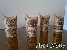 Art's Nêssa - Artesanato: Corujas rolo de papel higiênico