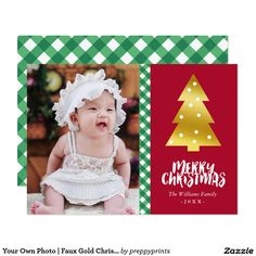 Your Own Photo   Faux Gold Christmas Tree
