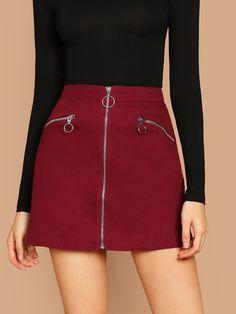 Zip Front Zipper Detail Twill A-Line Mini Skirt -SheIn(Sheinside) - Strumpfhosen outfit - Skirt Ideen Summer Dresses Uk, White Dress Summer, Belted Shirt Dress, Tee Dress, Jupe Crayon Beige, Cute Skirts, Mini Skirts, Fancy Skirts, Beige Pencil Skirt