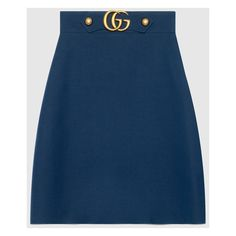 Gucci Crêpe Wool Silk Skirt (26,205 THB) via Polyvore featuring skirts, blue, ready to wear, women, knee high skirts, gucci skirt, wool a line skirt, silk a line skirt and blue wool skirt