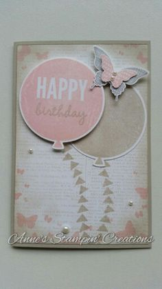 Stampin\' Up! Birthday card Celebrate Today stampset with Balloon framelits dies, Perpetual Birthday Calendar stampset, Butterfly Basics stampset, Kinda Eclectic stampset, Dictionary background stamp, Elegant Butterfly punch, Bitty Butterfly punch. Facebook page: Anne\'s Stampin\' Creations