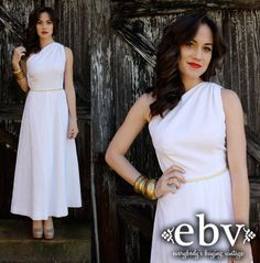 Vintage 70s White One Shoulder Maxi Wedding  Dress XS S on Etsy, £89.72