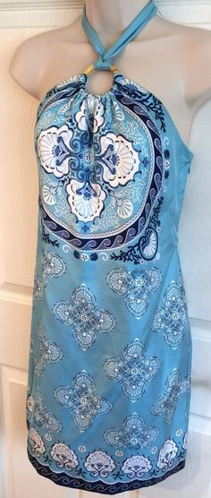 Vineyard Vines Silk Summerland Scarf Dress Halter Blue Nautical Lined Sz 0 | eBay
