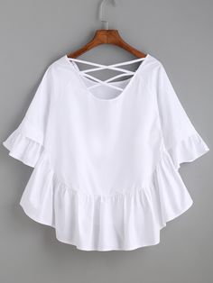 Shop White Crisscross Back Ruffle Top online. SheIn offers White Crisscross Back Ruffle Top & more to fit your fashionable needs. Girl Fashion, Fashion Dresses, Fashion Design, Feminine Mode, Summer Outfits, Casual Outfits, Diy Kleidung, Outfit Trends, Mode Outfits
