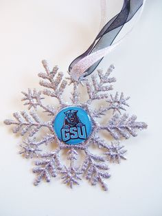 Georgia State University Handmade Glitter Snowflake, POUNCE the PANTHER by ZZsTeamTime on Etsy