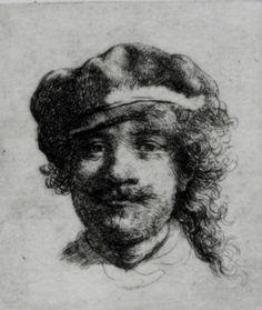 Rembrandt, Self-Portrait, ca. 1634. Etching, 1 3/4 x 2 in. Stolen from the Isabella Stewart Gardner Museum, Boston, MA, 18 March 1990.