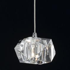 Pendente em Cristal Translúcido Isadora Design 1 Lâmpada 7cm x 10cm Transparente