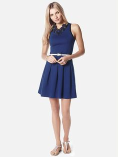 Banana Republic | Box-Pleat Ponte Dress navy blue. Flattering length and is tailored for a petite.