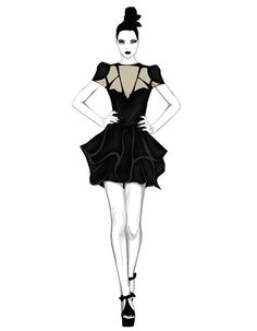Fashion illustration - monochromatic fashion drawing // Will Ev