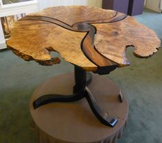 Rosewood and Maple Pedestal Table