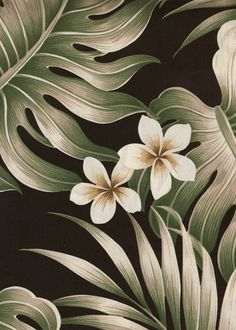 Mauna pattern (detail), a vintage tropical botanical barkcloth fabric. Cotton poplin with monstera, palm fronds, and plumeria flowers