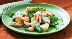 Warm Potato Salad with Salmon, Spinach and Dill
