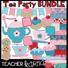 Tea Party BUNDLE of graphics with 45 pieces.  The TEXTURED elements included in this download are: teapot, cups, cakes, cookies, cupcakes, plates, spoons, buntings, frames, and digital papers. The beautiful textured designs will be sure to make your resources POP!**********************************These graphics may be added to your classroom materials and resource products that you sell.These graphics are intended for you to create your own teaching resources in a document form.