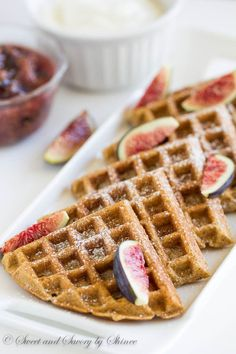 You won't even notice that these extra fluffy waffles are made with whole wheat cereal and packed with nutrients! To make them even more special, top them with sweet and tangy yogurt whipped cream and honey-glazed fig compote.