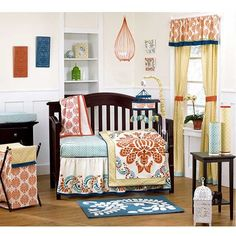Blue and Orange Abstract Geometric Baby Girl Unique Nursery Crib Bedding Set Baby Boy Crib Bedding, Nursery Bedding, Baby Cribs, Girl Nursery, Girl Room, Cream Nursery, Orange Nursery, Nursery Furniture, Nursery Room