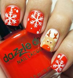 These r my christmas nails right here Glitter French Manicure, Red Manicure, Diy Nails, Glitter Nails, Fall Nail Art Designs, Christmas Nail Art Designs, Acrylic Nail Designs, Christmas Gel Nails, Holiday Nails