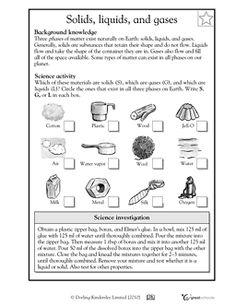 Solids, liquids, and gases - Worksheets & Activities | GreatSchools