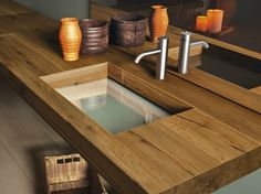Download the catalogue and request prices of Depth wildwood By lago, single wood and glass washbasin design Daniele Lago