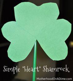 "Simple ""Heart"" Shamrock-- an easy way to make shamrocks!"