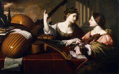 DIVINE INSPIRATION of MUSIC Nicolas Regnier (Flanders, active Italy, 1591-1667) La poesía, representada como una mujer con corona de laurel, señala hacia arriba con el índice para subrayar que la Música debe sacar su inspiración de las armonías divinas. Sobre la mesa un archilaúd, un laúd, un violín y una viola da gamba, junto a algunos libros de música. La Música deja de tocar y apoya el violín para prestar atención a la poesía.