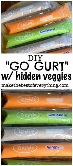 "DIY ""Go Gurt"" with hidden veggies. I'm making these for sure!!"